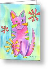 A Cat Of Many Colors II Greeting Card by Terry Taylor