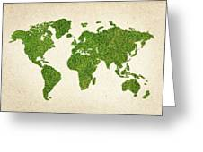 World Grass Map Greeting Card by Aged Pixel