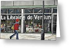 A Cold Day In Verdun  Librairie De Verdun Greeting Card by Reb Frost