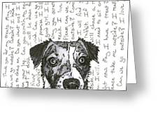 A Conversation With A Jack Russell Terrier Greeting Card by Salvadore Delvisco