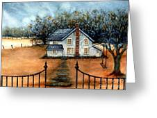 A Country Home Greeting Card by Janine Riley