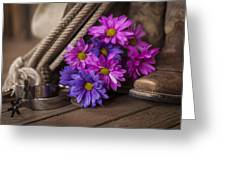 A Cowgirl's Flowers Greeting Card by Amber Kresge