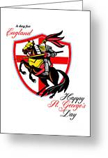 A Day For England Happy St George Day Retro Poster Greeting Card by Aloysius Patrimonio