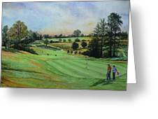 A Day's Golf Original Painting Sold Greeting Card by Andrew Read