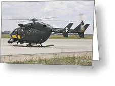 A Eurocopter Ec145 Helicopter Greeting Card by Timm Ziegenthaler
