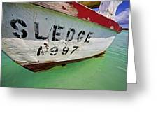 A Fishing Boat Named Sledge Greeting Card by David Letts