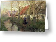 A French River Landscape With A Woman By Cottages Greeting Card by Fritz Thaulow