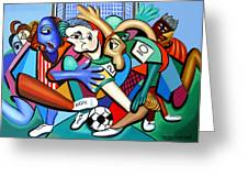 A Friendly Game Of Soccer Greeting Card by Anthony Falbo