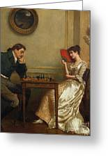 A Game Of Chess Greeting Card by George Goodwin Kilburne