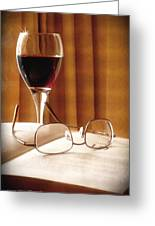 A Good Book And A Glass Of Wine Greeting Card by Lucinda Walter