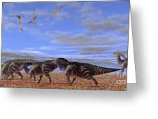 A Herd Of Parasaurolophus Dinosaurs Greeting Card by Corey Ford