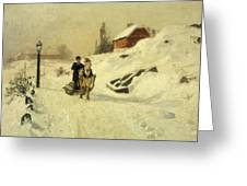 A Horse Drawn Sleigh In A Winter Landscape Greeting Card by Fritz Thaulow
