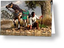 A Hunter and His Horse Greeting Card by Daniel Eskridge