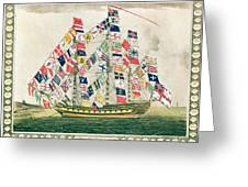 A King S Ship Dressed With The Colours Of Different Nations 6th October 1794 Greeting Card by English School