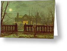 A Lady In A Garden By Moonlight Greeting Card by John Atkinson Grimshaw