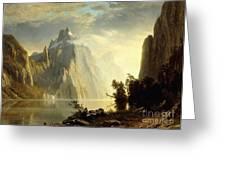 A Lake In The Sierra Nevada Greeting Card by Albert Bierstadt