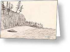 A Lakeshore... Sketch Greeting Card by Robert Meszaros