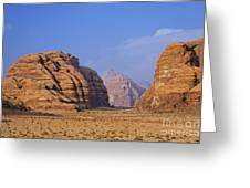 A Landscape Of Rocky Outcrops In The Desert Of Wadi Rum In Jordan Greeting Card by Robert Preston
