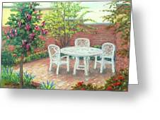 A Little Spring Patio  Greeting Card by Nancy Heindl