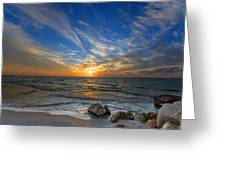 a majestic sunset at the port Greeting Card by Ron Shoshani