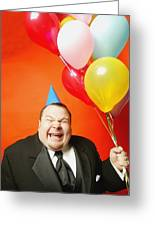 A Man With Balloons Greeting Card by Darren Greenwood