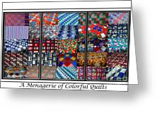 A Menagerie Of Colorful Quilts Triptych Greeting Card by Barbara Griffin