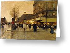 A Parisian Street Scene Greeting Card by Eugene Galien-Laloue
