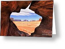 A Peek Into Monument Valley Greeting Card by Sandra Bronstein