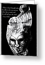 A Picture Of A Venitian Mask Accompanied By An Oscar Wilde Quote Greeting Card by Nila Newsom