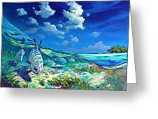A Place I'd Rather Be - Caribbean Permit Fly Fishing Painting Greeting Card by Mike Savlen