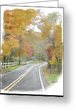 A Quiet Country Road Greeting Card by Bill Losey