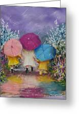 A Rainy Day Stroll With Mom Greeting Card by Jack Skinner