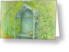 A Seat in the Garden Greeting Card by Garry Walton