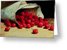 A Spilled Bag Of Cherries Greeting Card by Antoine Vollon
