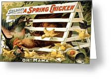 A Spring Chicken Greeting Card by Aged Pixel