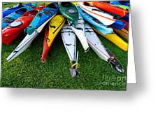 A Stack Of Kayaks Greeting Card by Amy Cicconi