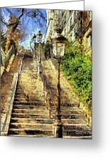 A Stairway In Montmartre Greeting Card by Dragica  Micki Fortuna