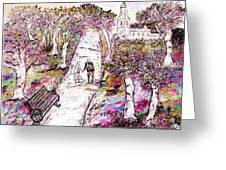 A Stroll In Autumn Greeting Card by Loredana Messina