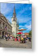 A Sunny Afternoon In Jackson Square Greeting Card by Steve Harrington