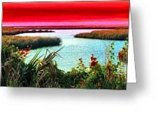 A Sunset Crimsoned Greeting Card by Julie Dant