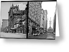 A Tail Of Two Cities - South Broad Then And Now Greeting Card by Bill Cannon