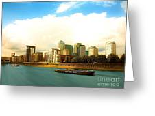 A View Over The River Thames Of Canary Wharf London Docklands England Greeting Card by Flow Fitzgerald