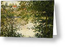 A View Through The Trees Of La Grande Jatte Island Greeting Card by Claude Monet