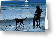 A Walk On The Beach Greeting Card by Mike Flynn