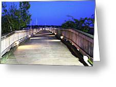 A Walk On The Pier Greeting Card by Judy Palkimas