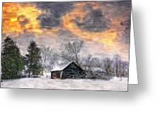 A Winter Sky Paint Version Greeting Card by Steve Harrington
