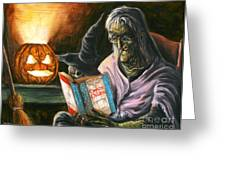 A Witch Reading Greeting Card by Mark Tavares