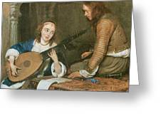 A Woman Playing The Theorbo-lute And A Cavalier Greeting Card by Gerard Terborch