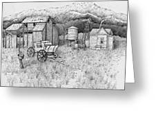 Abandoned Old Farmhouse And Barn Greeting Card by Tammie Temple