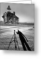 Abandoned School House And My Shadow Circa 1985 Greeting Card by John Hanou